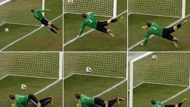 A series of images showing Frank Lampard's famous disallowed goal.
