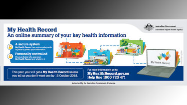 A My Health record advertisement that appeared in the Sydney Morning Herald   newspaper on Monday.