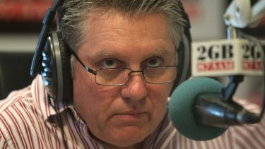 2GB Radio announcer and talkback host Ray Hadley pictured live on air.