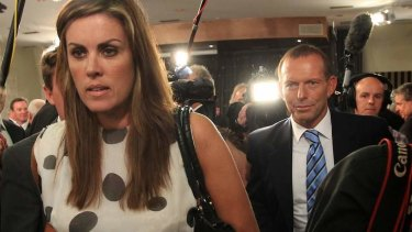 Inside and out: Tony Abbott with his prime ministerial chief of staff Peta Credlin, who has become a media pundit.