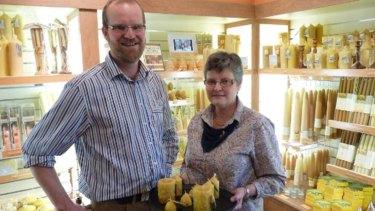 Remmo Beerepoot and his mother Lida Beerepoot at the Melita Honey Farm.