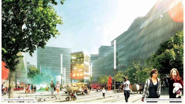 An artists impression of Green Square.