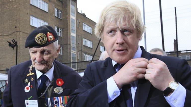 Boris Johnson arrives to see off World War II veterans when he was lord mayor.