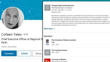 "Labor's Darling Range candidate Colleen Yates listed an ""MBA"" from UWA in the education section of her LinkedIn profile, but she has not been awarded the degree."