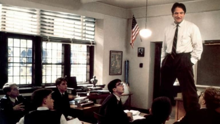 Robin Williams in Dead Poets Society. Will there be room for the inspiring but odd teacher in modern classrooms?
