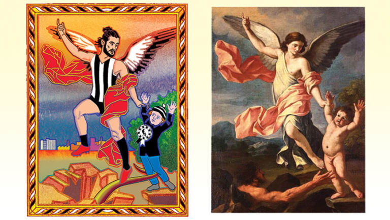 An angelic Brodie Grundy spares a young Pies fan from a dark season, inspired by Giacinto Cimignani's original.