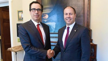 Steven Mnuchin,US Secretary of the Treasury, meets Treasurer Josh Frydenberg in Washington DC.