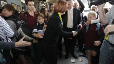 A salami sandwich at the feet of Prime Minister Julia Gillard at a school visit in Canberra in May 2013.