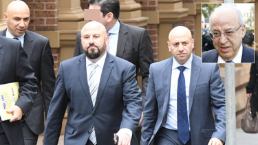 The Obeid family lost their lawsuit against the ICAC. Photo shows, from left at front, Moses Obeid, Eddie Obeid jnr, and Paul Obeid, and inset Eddie Obeid.