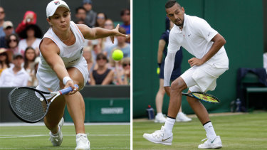 Split screen: Channel 7 chose to air Nick Kyrgios' match (right) over newly-crowned world No. 1 Ash Barty (left).