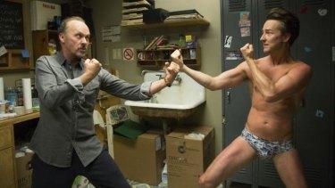 Michael Keaton and Edward Norton in Birdman.