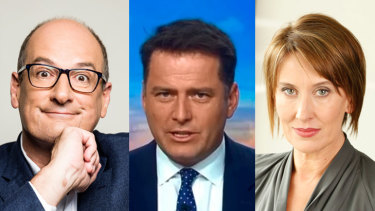 Breakfast rivals: Sunrise's David Koch (left), Today's Karl Stefanovic and News Breakfast's Virginia Trioli.