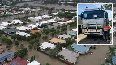 Glen Hardy with his council truck (inset) and an example of the flood waters he faced in Townsville last year.