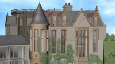 The plans include turrets, castellations, a rooftop terrace and sandstone features.