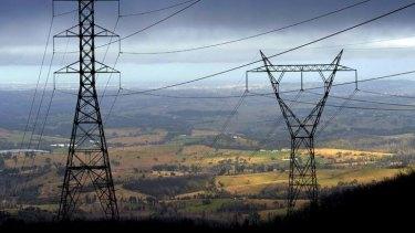 High voltage power lines in Victoria.