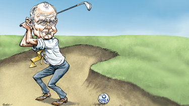The boss of financial services juggernaut IOOF, Chris Kelaher, has been stuck in the trickiest of business bunkers. Fortunately, he loves golf. Illustration: Joe Benke