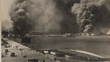 Pearl Harbour after the Japanese attack.