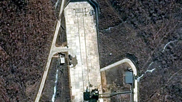 A satellite image shows North Korea's Tongchang-ri launch facility in March 2018.