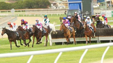 Leaps and bounds: the Grand Annual Steeplechase at the Warrnambool Racing Club.