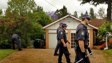 NSW police search the area near Lynette Bradbury's home.