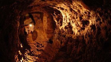 An ancient secret tunnel under a tower in Gibraltar.