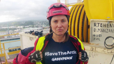 Lucy Lawless takes part in a Greenpeace protest against a Shell-contracted drilling ship in  New Zealand.