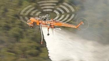 An Aircrane is seen dropping water on the Buninyong bushfire near Ballarat.