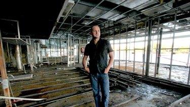 Drift owner David Moore inside the ruins of the restaurant in 2011.