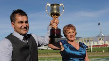 Barbara Joseph and Paul Jones are hoping Almost Court can win the Albury Gold Cup.