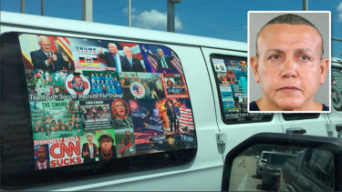 A van believed to be owned by pipe bomb suspect Cesar Sayoc jnr.