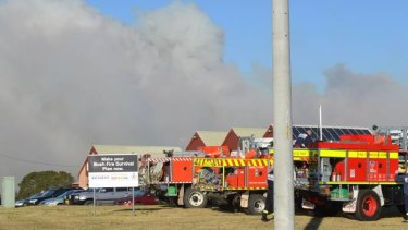 A bushfire burns in Milton near Ulladulla on Wednesday.