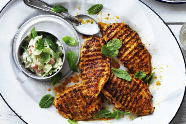 Grilled chicken breast with cucumber and yoghurt relish.