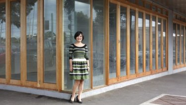 Clare Hu outside Bluff Town cafe when it was being developed.