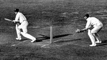 Don Bradman at the crease during a Test match in England in 1934.