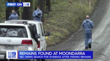 Police comb bushland in Moondarra, in Victoria's high country. Picture: Nine News.