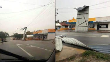 A chemist's roof in Victoria Park got caught in power lines.