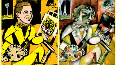 Clawing his way back: Richmond's Jack Higgins (illustration: Jim Pavlidis), and Marc Chagall's original Self Portrait With Seven Fingers.