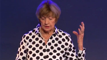 Margaret Court during her Sunday sermon at the Victory of Life Centre in Perth.