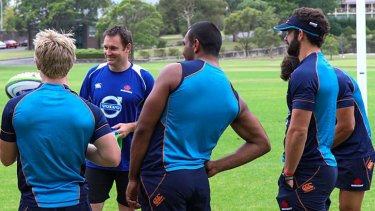 Wise words: Andrew Mehrtens oversees a Waratahs kicking session in 2017.