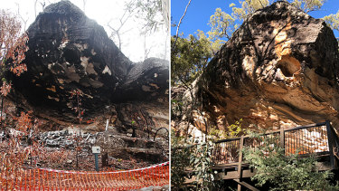 Baloon Cave, before and after the 2018 explosion that destroyed ancient Aboriginal rock art.
