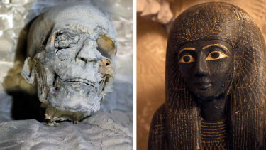 A mummy and a sarcophagus inside the newly discovered tomb at El-Asasef Necropolis, in Luxor.