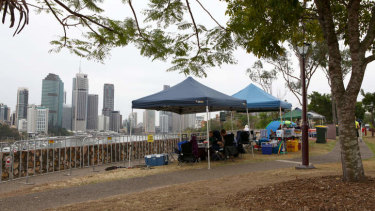 People set up early at Kangaroo Point to nab the best spots to watch Riverfire.