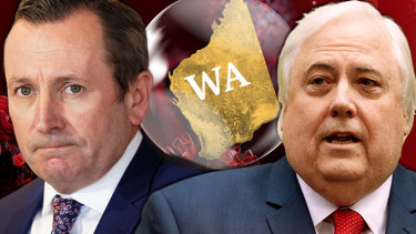"Clive Palmer – who has a mining company based in WA – says the border is ""destroying the economy""."