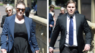Lauren and Adam Cranston leave the Supreme Court of NSW in Sydney on Friday.