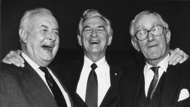 Former prime ministers Gough Whitlam, Bob Hawke and Malcolm Fraser in 1992.