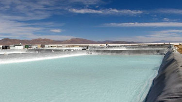 An evaporative pond at Orocobre's Olaroz facility in northern Argentina.