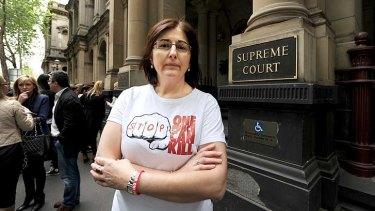 David Cassai's mother, Caterina Politi, outside the Supreme Court.