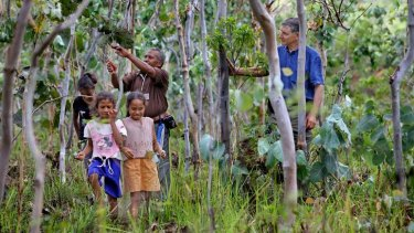 New shoots: Tony Rinaudo with Manuel Da Silva and some of his children near Aileu in East Timor.