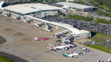 The crash happened in front of Brisbane Airport's international terminal apron. (File image)