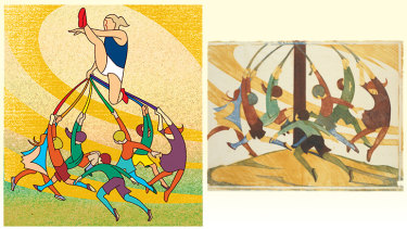 Putting the boot in: illustration by Jim Pavlidis (left), and The Giant Stride original by Ethel Spowers.